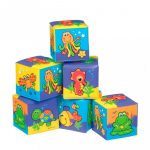 Fejlesztő játékok - Bébi játékok - Puha kockák bébi játék állatkás képekkel
