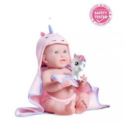 Élethű játékbabák - Élethű Berenguer babák - Unikornisos fürdőköpenyes kislány Berenguer Játékbaba
