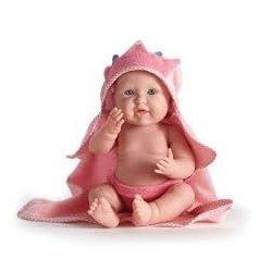 Fürdethető játékbabák - Berenguer rózsaszín fürdőköpenyes játékbaba