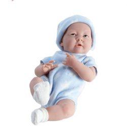 Élethű játékbabák - Élethű Berenguer babák - Újszülött fiú játékbaba kék csillagos ruhában, 38 cm