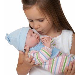 Élethű játékbabák - Berenguer anatómiailag hiteles fiú baba csíkos pizsamában Nino