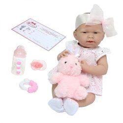Élethű játékbabák - Élethű Berenguer babák - Játékbaba lány rózsaszín ruhában, nyuszival, 38cm