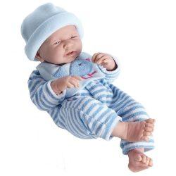 Élethű játékbabák - Élethű Berenguer babák - Játékbaba csíkos, kék ruhában, sapkával, 43 cm