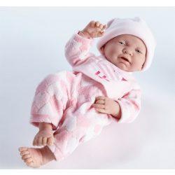 Élethű játékbabák - Élethű Berenguer babák - Játékbaba rózsaszín szivecskés ruhában, 43cm