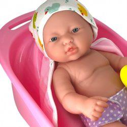 Élethű játékbabák - Berenguer Újszülött játékbaba fürdőköpenyben káddal 33cm