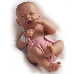 Berenguer - újszülött lány karakterbaba - rózsaszín pelenkával
