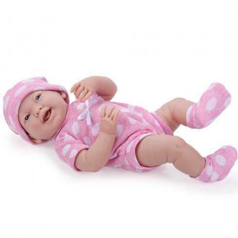 Élethű játékbabák - Lány pöttyös ruhában, 38 cm