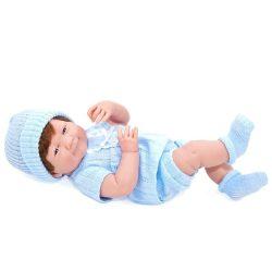 Élethű játékbabák - Élethű Berenguer babák - Újszülött fiú karakterbaba kék kötött ruhában, sapkában