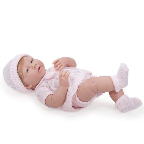Élethű játékbabák - Élethű Berenguer babák - Újszülött lány rózsaszín kötött ruhában, sapkában