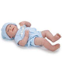 Élethű játékbabák - Élethű Berenguer babák - Mosolygós játékbaba kék pöttyös ruhában 38cm
