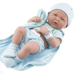 Berenguer élethű babák- Újszülött fiú karakterbaba - Pöttyös kék ruhában