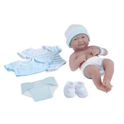 Élethű játékbabák - Élethű Berenguer babák - Mosolygós játékbaba 8db-os kék-fehér kiegészítővel