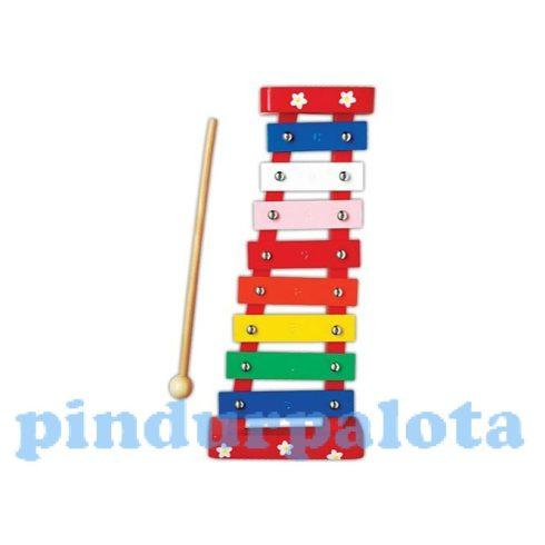 Játék hangszerek gyerekeknek - Metalofon 1 oktávos (piros-virágos)