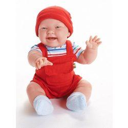 Élethű játékbabák - Berenguer Nico karakterbaba piros kord kertésznadrágban 46 cm