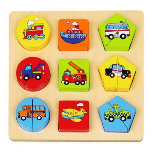 Fa puzzle - Járműves formalap - Párkereső játék