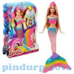 Műanyag babák - Barbie babák - Szivárványsellő Barbie, Világítós sellőfarokkal