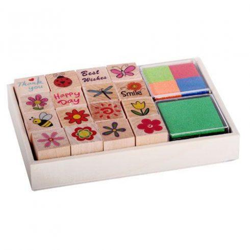 Írószerek - Iskolaszerek - Nyomdák - Nyomda készlet fadobozos virágos