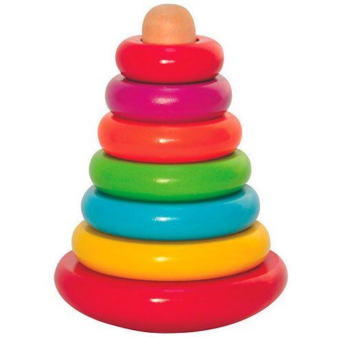 Bébi játékok - Fa gyűrűpiramis montesszori játék 8db-os Woodyland