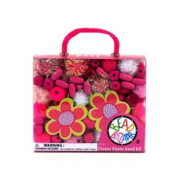Fűzős játékok gyerekeknek - Gyöngyök - Fa golyók - Bead Bazaar Virágos gyöngy csokor - pink