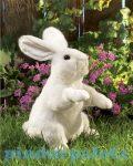 Kesztyű bábok - Plüss kesztyűbáb Nyuszi álló fehér