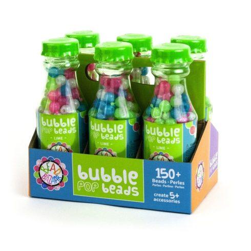Fűzős játékok gyerekeknek - Gyöngyök - Fa golyók - Bead Bazaar Gyöngy palack 1 db - zöld citrom