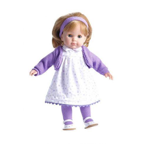 Élethű játékbabák - Hajasbaba Berenguer szőke hajú Carla játékbaba lila virágos ruhában 36cm