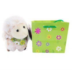 Plüss bárány virágos tasakban 10cm