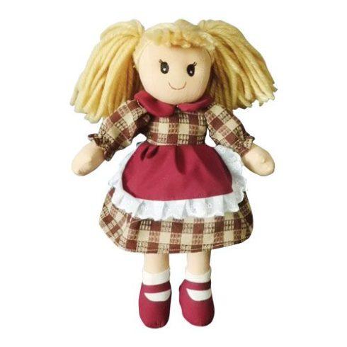 Rongybaba - Lány - Barna Kockás, 15 cm