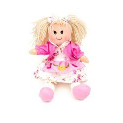 Rongybabák - Rongybaba 25 cm lány rózsaszín virágos