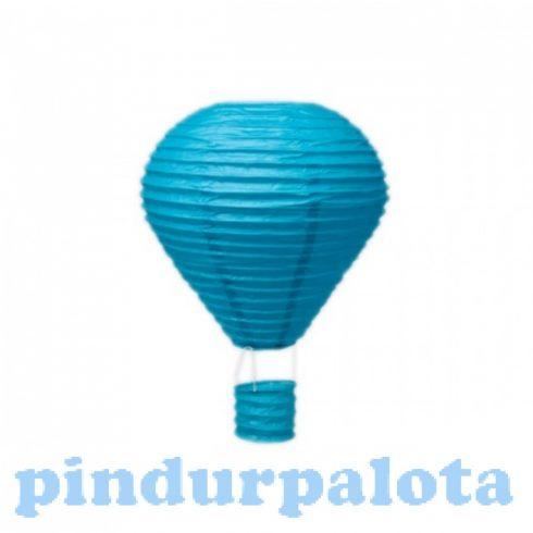 Party dekoráció - Lampion mécsestartóval papírból türkiz kék színű 25 cm