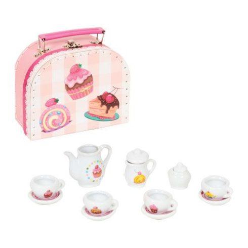 13db-os porcelán teáskészlet bőröndben - Teadélután