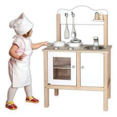 Játék konyhák - Fehér fa gyerekkonyha