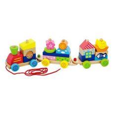 Favonatok - Montesszori játékok - Mintás fa montesszori vonat