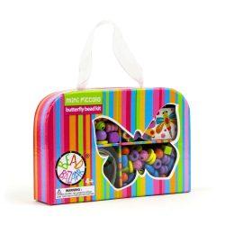Fűzős játékok gyerekeknek - Gyöngyök - Fa golyók- Bead Bazaar Mini utazó gyöngykészlet - pillangó