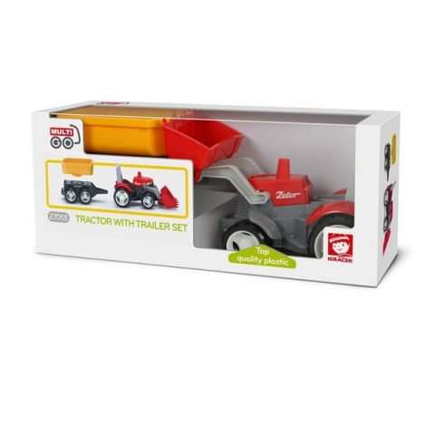 Járművek - Műanyag játékautók - Multigo Traktor utaánfutóval és platóval ECO