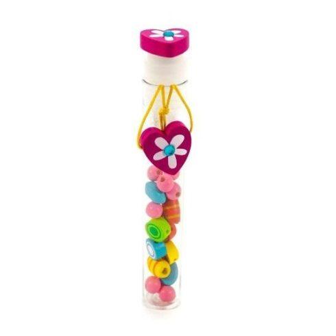 Fűzős játékok gyerekeknek - Gyöngyök - Gyöngyfűző hengerben, szives