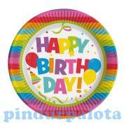 Terítés - Poharak, tányérok étkészletek zsúrokra - Papírtányér, 10db, Happy Birthday