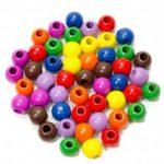 Készségfejlesztő - Fűzős játékok - Fagolyó, színes, 25 mm, 30 db