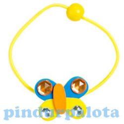 Ajándék és divat - Ékszerek - Hajgumi pillangó sárga-kék színű