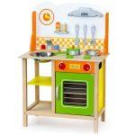 Játék konyhák - Fa játékkonyha gyerekeknek zöld és narancs színben