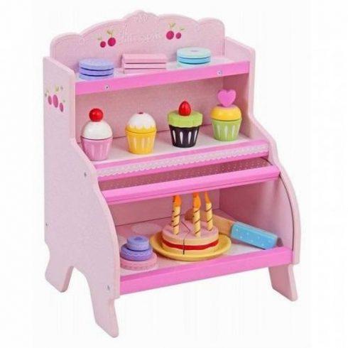 Játékkonyha kiegészítők - Fa süteményes pult kiegészítőkkel (rózsaszín)
