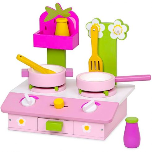 Játékkonyha kiegészítők - Fa játék rezsó kiegészítőkkel (rózsaszín)