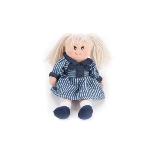 Rongybabák - Rongybaba 30 cm (Petra, lány, szőke, kék-fehér csíkos)