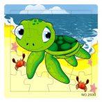 Fa puzzle - Kirakós játékok - Puzzle 16 db-os (teknős)