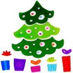 Ajándékok - Zselés ablakdísz karácsonyfa ajándékokkal
