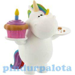 Pónis játékok - Chubby Unicorn műanyag játékfigura tortával Bullyland
