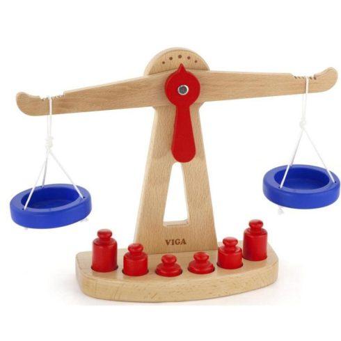 Játékkonyha kiegészítők - Fa játék mérleg (két karos)