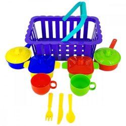 Szerepjátékok - Piknik lábas játék étkészlet kosárban