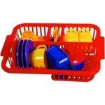 Játék konyhák - Edények - Edényszárító műanyag étkészlettel 17db-os