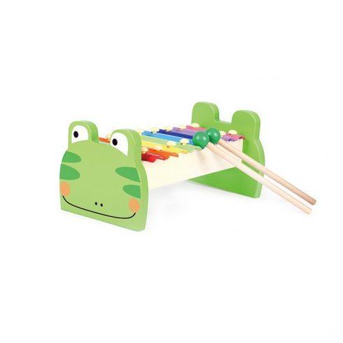 Hangszerek fából gyerekeknek - Játék metalofon békás motívummal gyerekeknek